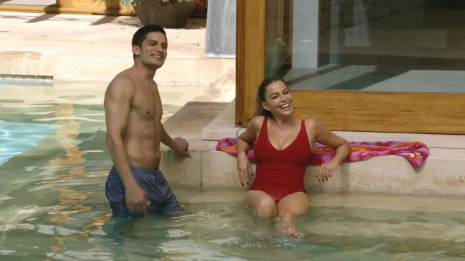 Sofia Vergara - Wearing a Red Swimsuit on Modern Family S06 E07