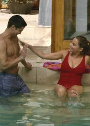 Sofia Vergara Wearing A Red Swimsuit On Modern Family