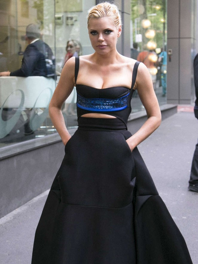Sophie Monk in Halter Top Dress Leaving Her Hotel in Melbourne