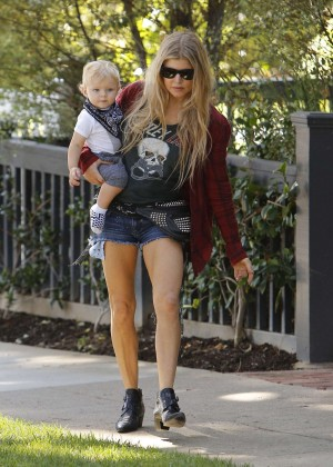 Stacy Fergie Ferguson in Jeans Shorts out with her son in Brentwood
