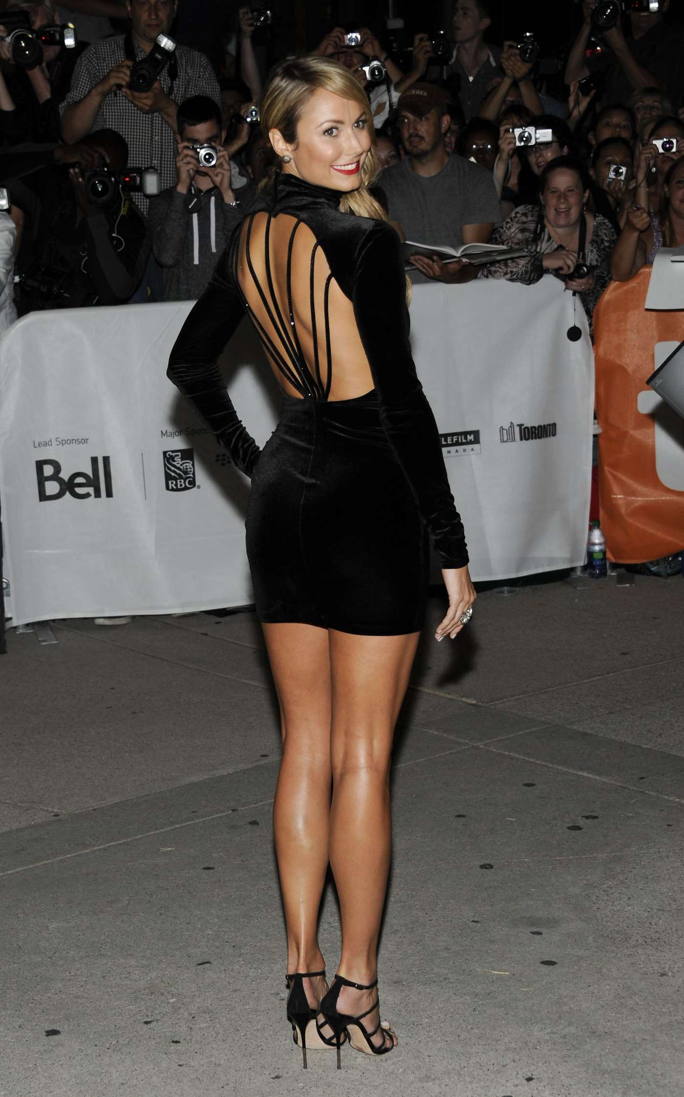 Stacy Keibler Wear Sexy Black Short Dress At The Ides Of