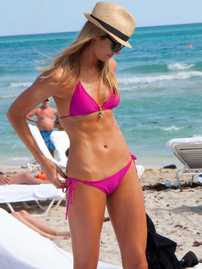 Stacy Keibler in Pink Bikini on the Beach in Miami