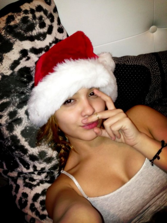 Stella Hudgens in a Christmas Hat, twitpics