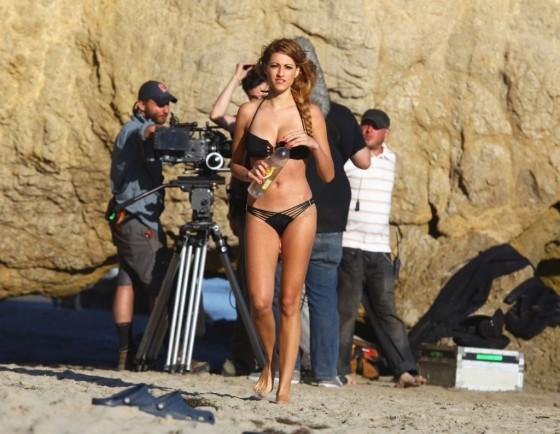 Stephanie Cook Bikini Photos: On set for commercial on the beach -03