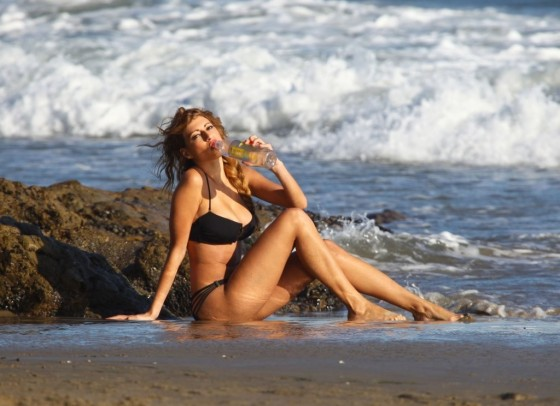 Stephanie Cook Bikini Photos: On set for commercial on the beach -07