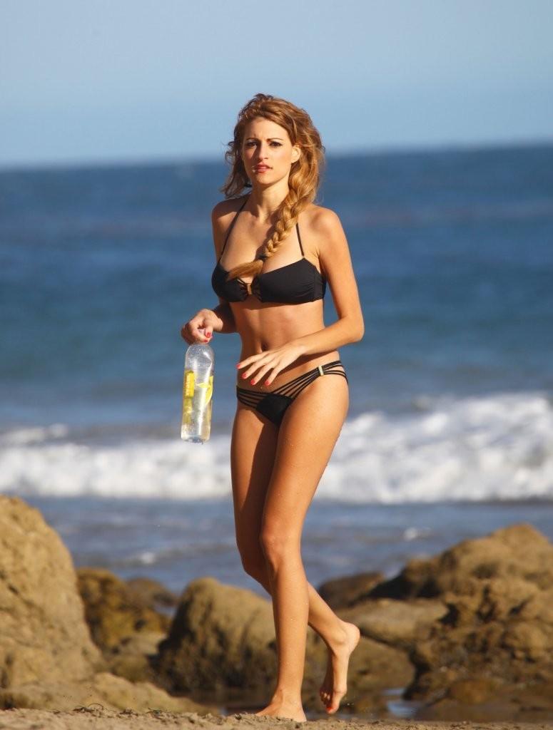 Stephanie Cook Bikini Photos: On set for commercial on the beach -09
