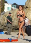 Stephanie Cook Bikini Photos: On set for commercial on the beach -11