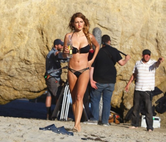Stephanie Cook Bikini Photos: On set for commercial on the beach -14