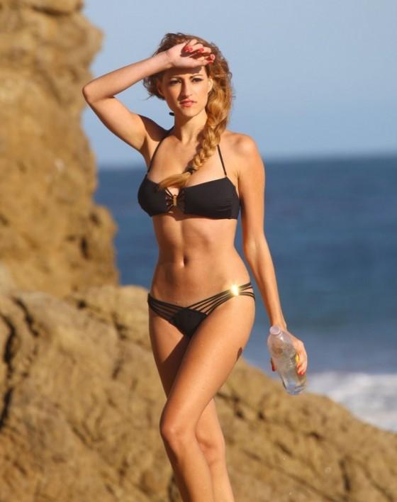 Stephanie Cook Bikini Photos: On set for commercial on the beach -15