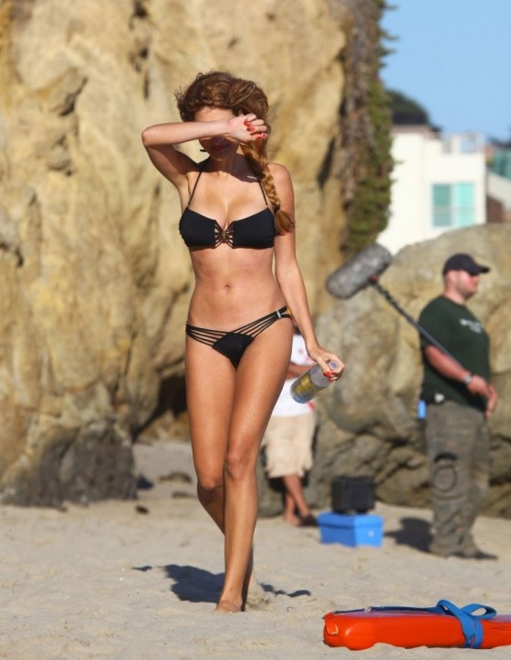 Stephanie Cook Bikini Photos: On set for commercial on the beach -16