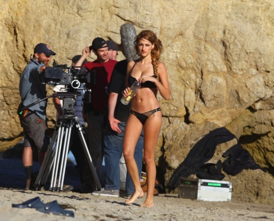 Stephanie Cook Bikini Photos: On set for commercial on the beach -17
