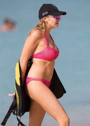 Stephanie Pratt in Pink Bikini on the Beach in Barbados