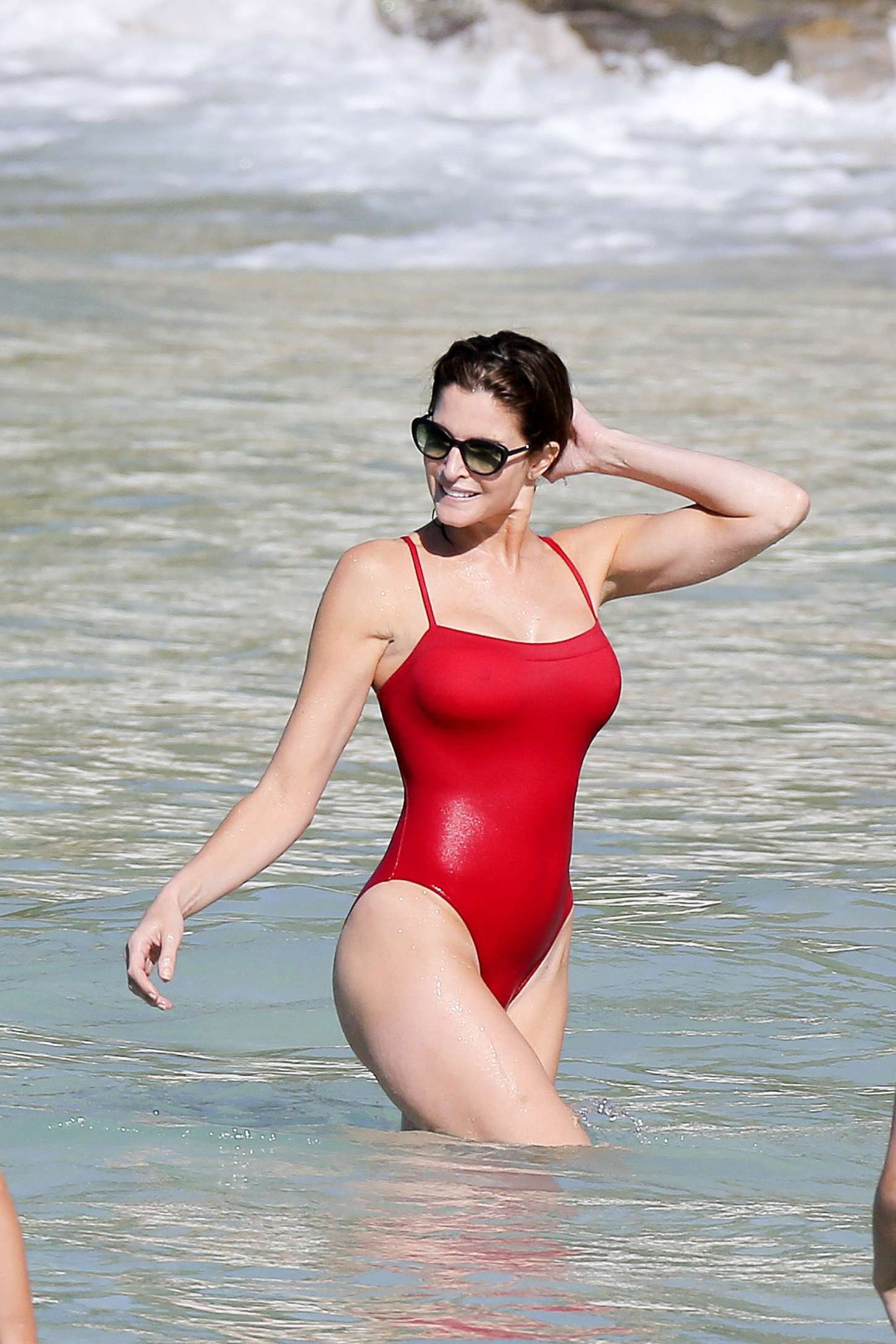 Stephanie Seymour Red Swimsuit 2014 09 Gotceleb