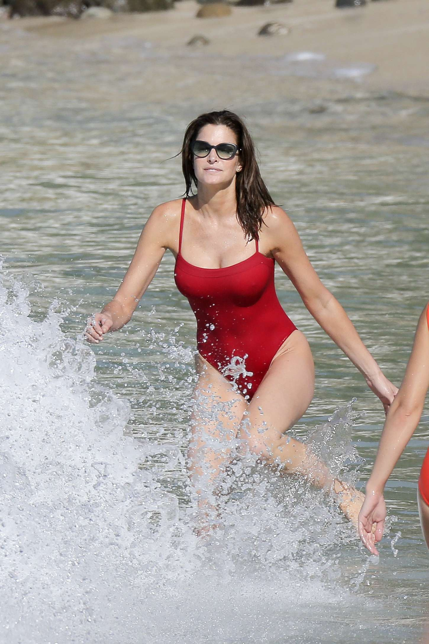 Stephanie Seymour Red Swimsuit 2014 27 Gotceleb