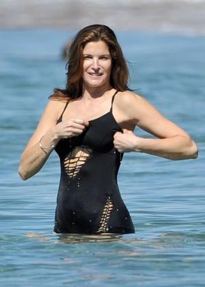 Stephanie Seymour in Black Swimsuit -02