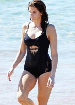 Stephanie Seymour in Black Swimsuit -13