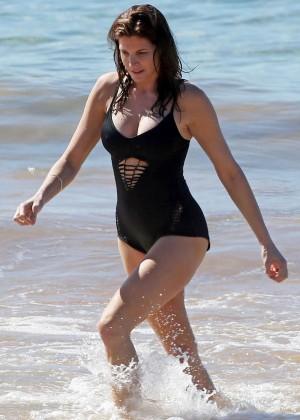 Stephanie Seymour in Black Swimsuit -24