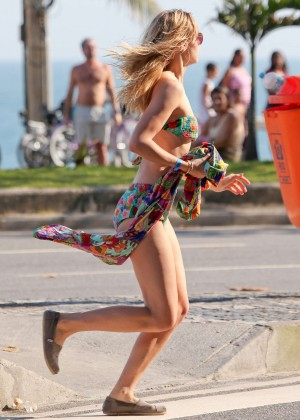 Suki Waterhouse in Floral Bikini -17