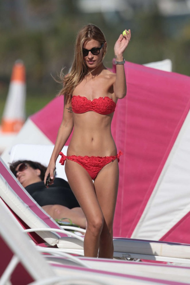 Sveva Alviti in Red Bikini on Miami Beach
