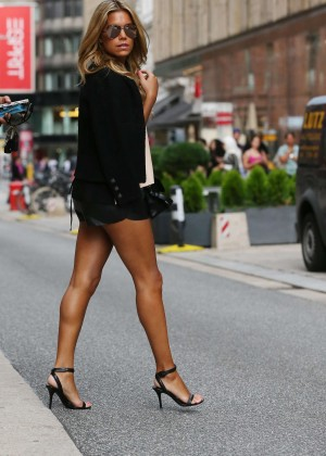 Sylvie Meis in Leather Shorts -15