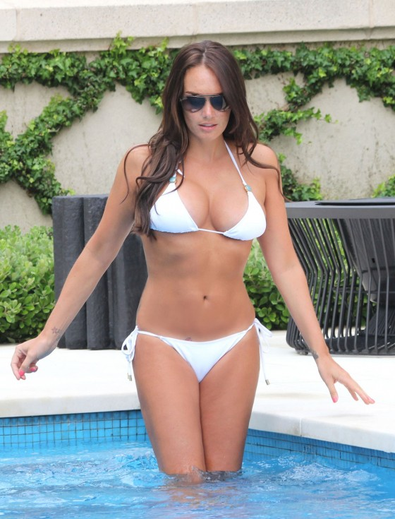 Tamara Ecclestone - Hot in White Bikini at a Pool in LA