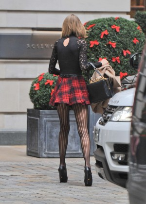Taylor Swift Leggy in Short Skirt out in London