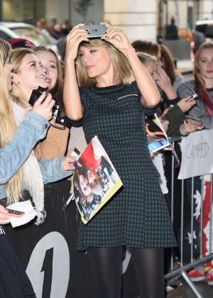 Taylor Swift in Green Mini Dress at BBC Radio 1 in London