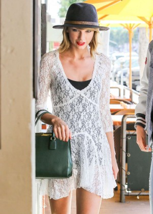 Taylor Swift in White Mini Dress at the Honor Bar in Beverly Hills
