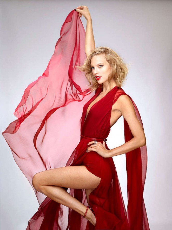 Taylor Swift in Red Dress for People Magazine (October 2014)