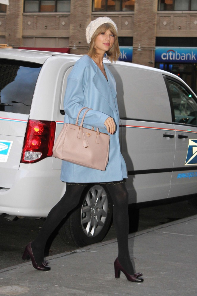 Taylor Swift in Blue Coat out in NYC