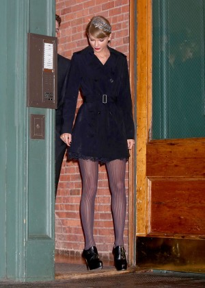 Taylor Swift Leggy in Mini Dress out in NYC