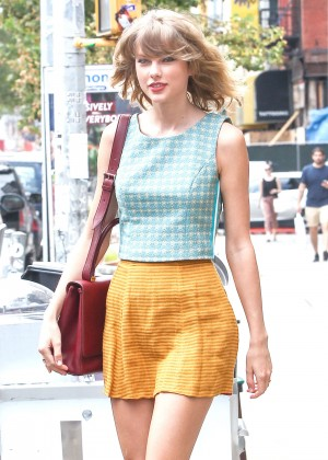 Taylor Swift in Yellow Mini Skirt out in NYC