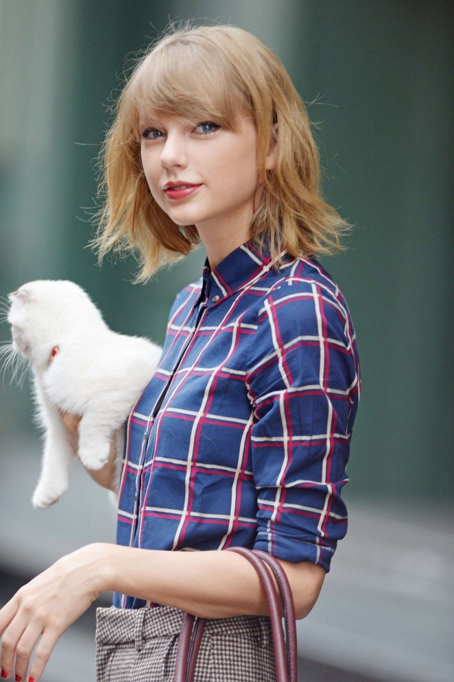 Taylor Swift With Her Cat Leaving Her Apartment in NYC