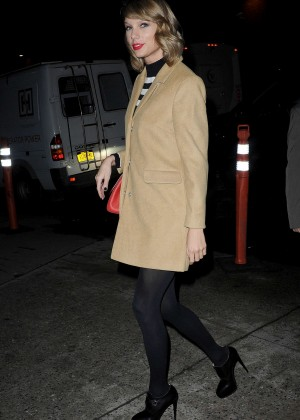 Taylor Swift in Short Coat Leaving Studio 54 in NYC