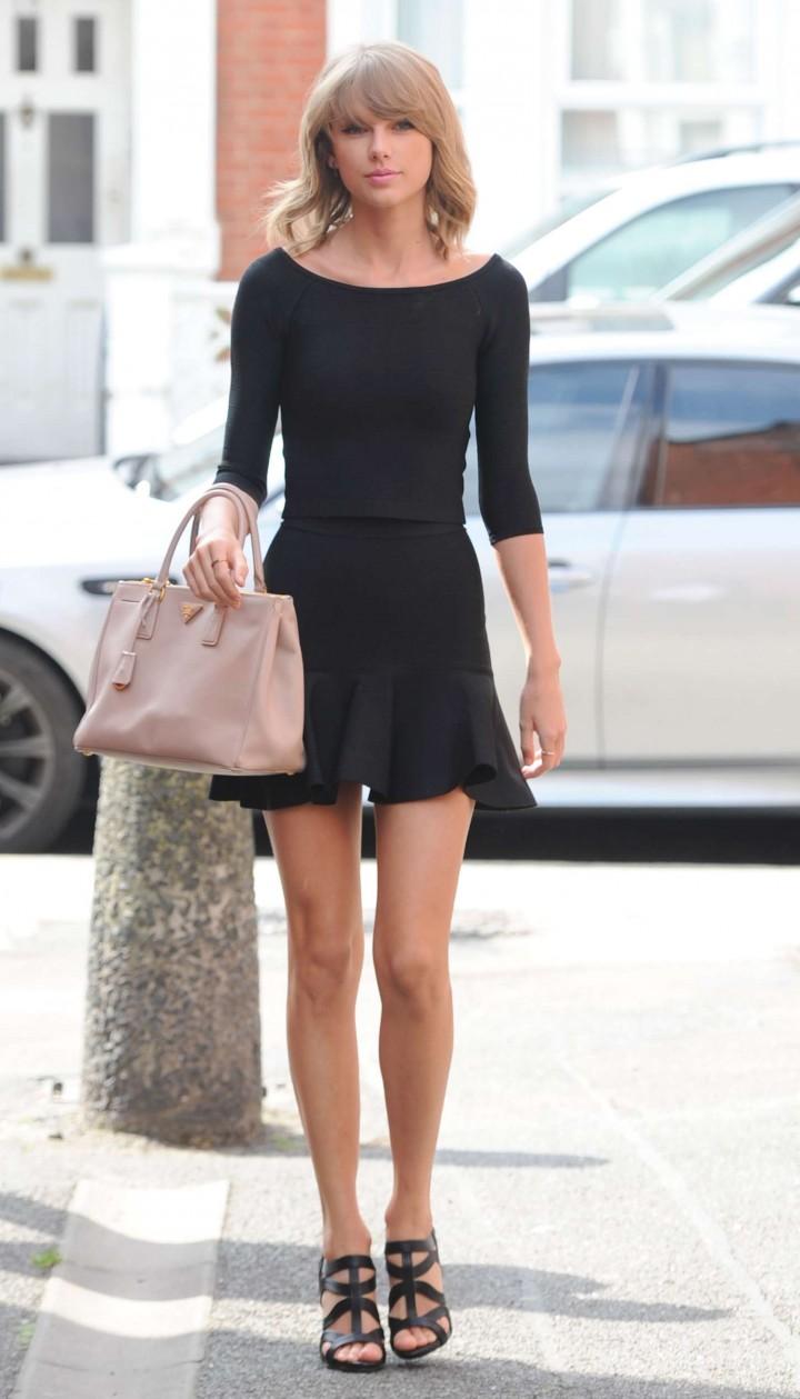 Taylor Swift Leggy in Mini Dress out in London