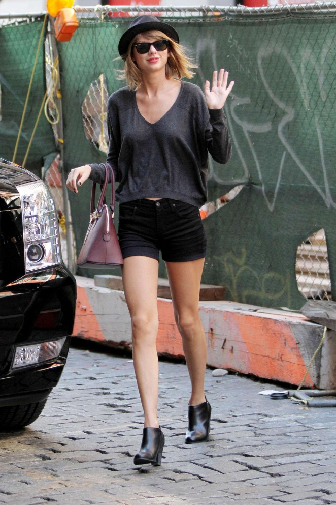 Taylor Swift in Black Shorts out in NYC
