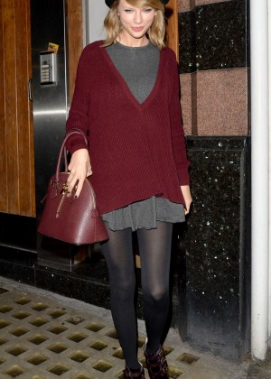 Taylor Swift in Mini Skirt out in London