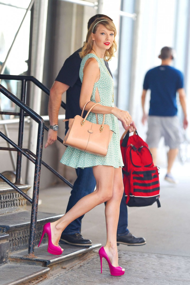 Taylor Swift in Green Dress out in New York City