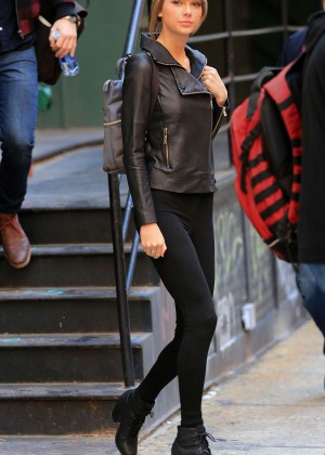 Taylor Swift in Leather Jacket and Tights out in NYC