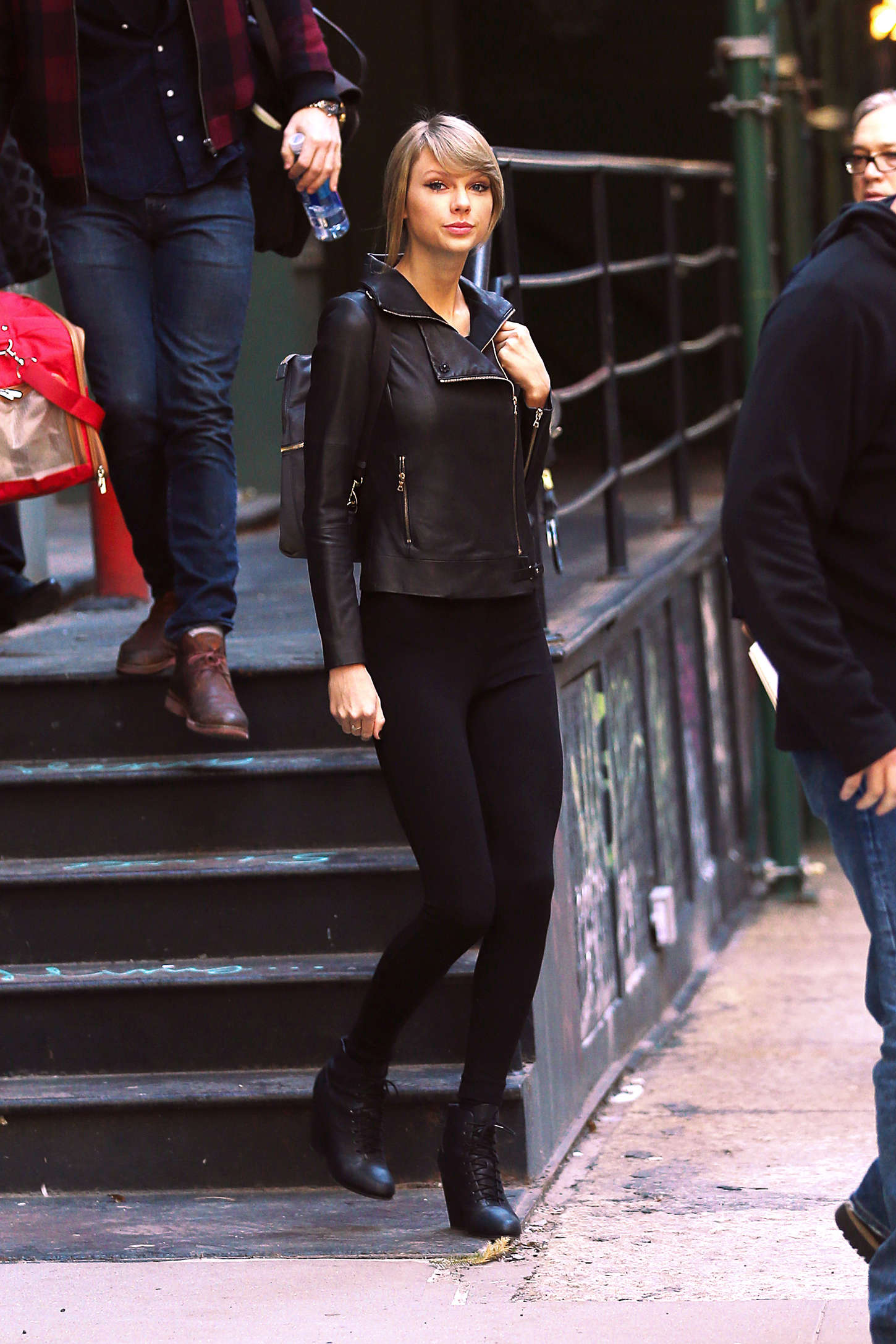 Taylor Swift In Leather Jacket And Tights 21 Gotceleb