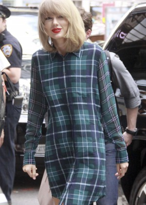 Taylor Swift in a shirt dress out in NYC