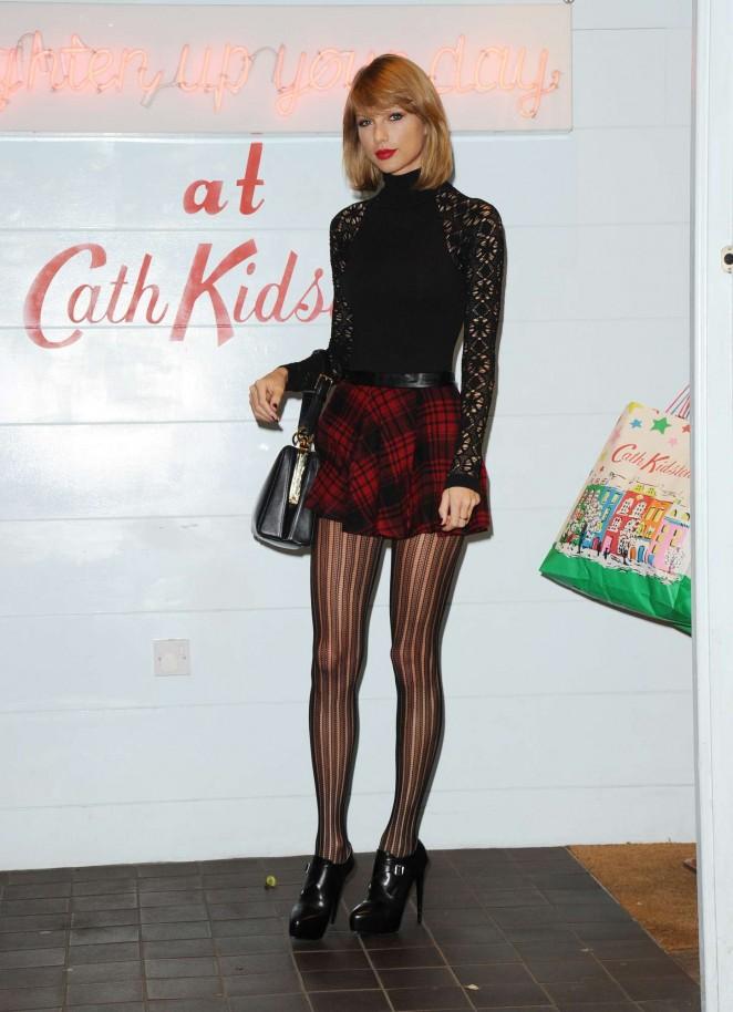 Taylor Swift 2014 : Taylor Swift in Mini Skirt at Cath Kidston -05