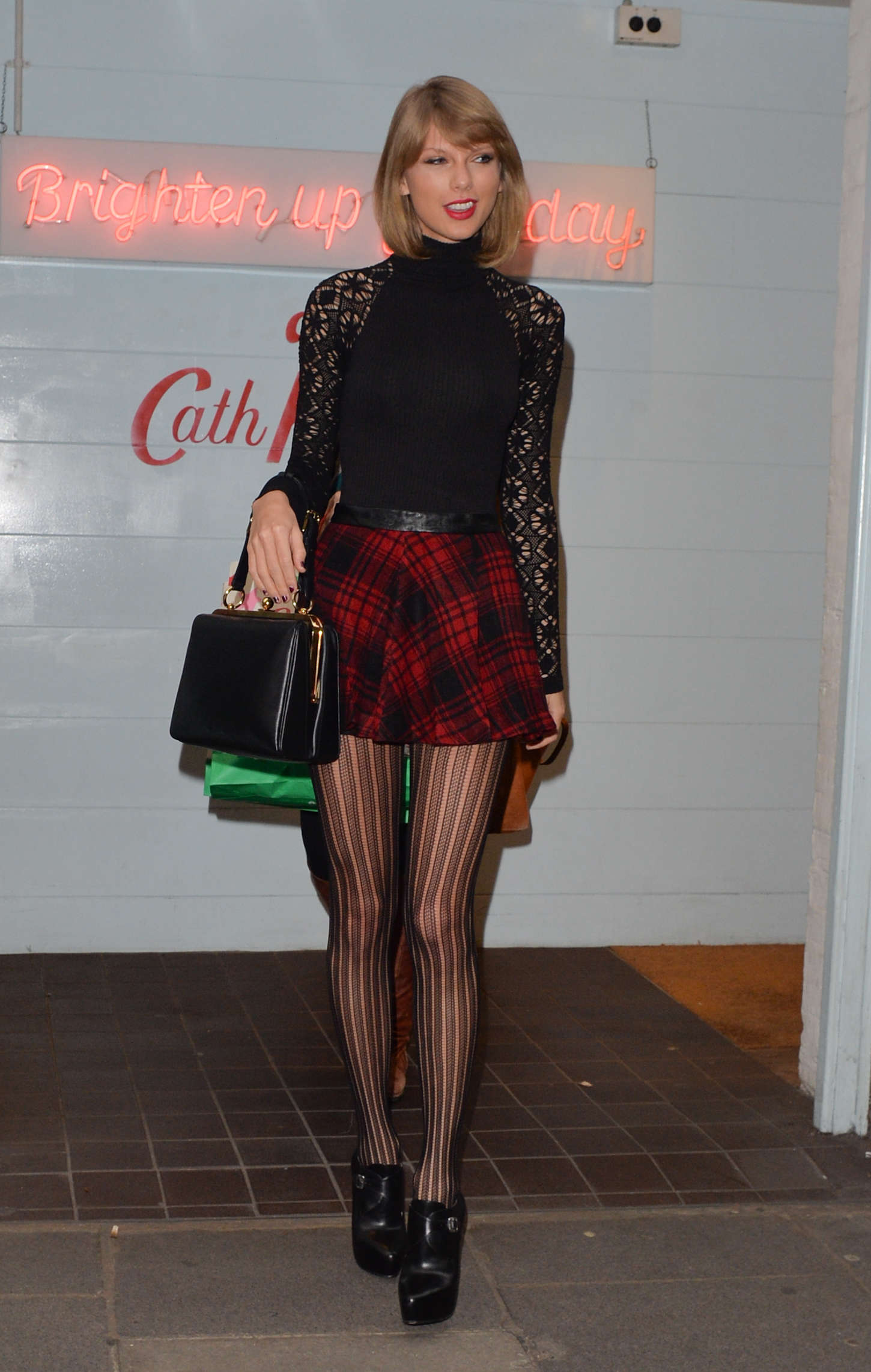 Taylor Swift 2014 : Taylor Swift in Mini Skirt at Cath Kidston -10