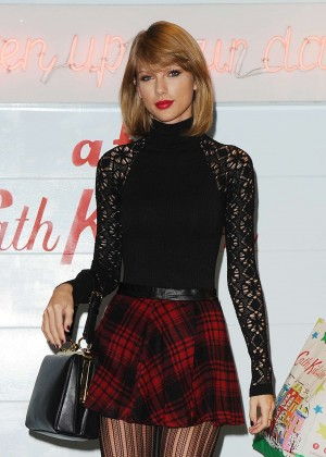 Taylor Swift in Mini Skirt at Cath Kidston -11