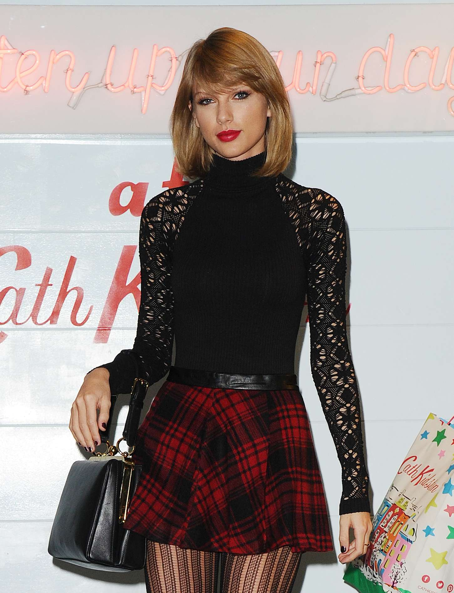 Taylor Swift 2014 : Taylor Swift in Mini Skirt at Cath Kidston -11