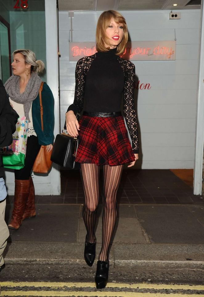 Taylor Swift 2014 : Taylor Swift in Mini Skirt at Cath Kidston -15