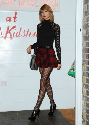 Taylor Swift in Mini Skirt at Cath Kidston -33