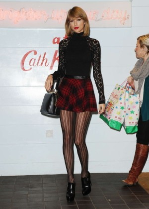 Taylor Swift in Mini Skirt at Cath Kidston -34