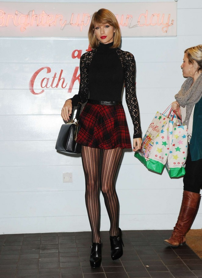 Taylor Swift 2014 : Taylor Swift in Mini Skirt at Cath Kidston -34