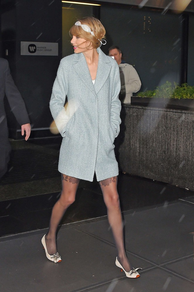 Taylor Swift in Blue Short Coat Out in NYC